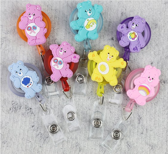 Cute Care Bears Retractable Badge Reel High Quality Silicone Cartoon Student Nurse ID Name Card Badge Holder Office Supplies