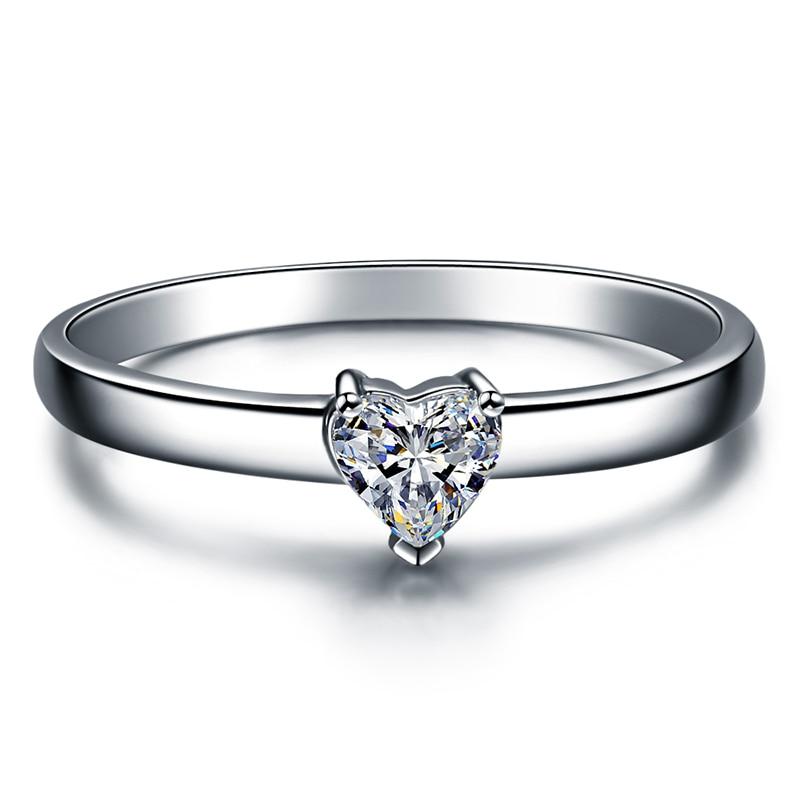 ZOCAI Heart Shape 18K White Gold (Au750) Real 0.18 CT F-G/ SI Heart Cut Diamond Engagement Ring W03672