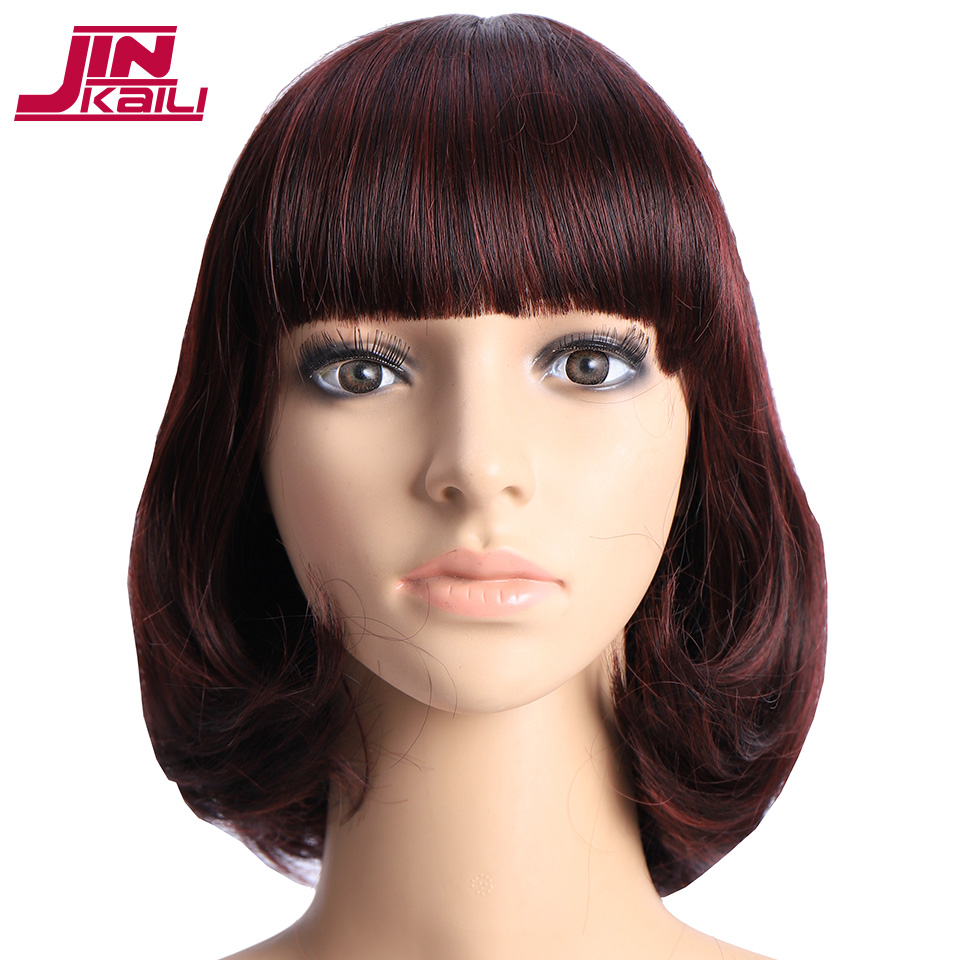 JINKAILI Short Straight Hair Wigs Women'S Bob Style Full Head Wig Heat Resistant Cosplay High Temperature Synthetic Wigs