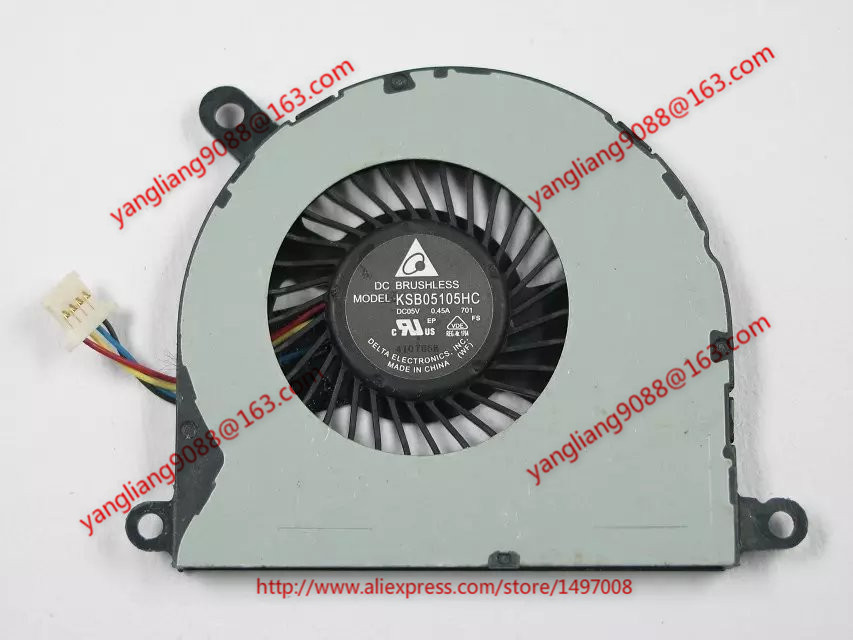 Free Shipping For Delta KSB05105HC DC 5V 0.45A 4-wire 4-pin connector 40mm Server Laptop Cooling fan steady ce approved s 300 48 ac dc led driver 300w power supply transformer 220v to 48v