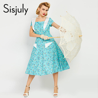 Sisjuly Vintage Women Dresses Summer Short Sleeve Blue Print Vintage Midi Dress Elegant Retro Dresses Jurken