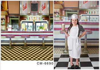 TR Colorful Drink Ice Cream Shop Photography Backdrops for Childern 150*220cm Little Cooker photo Background - sale item Camera & Photo