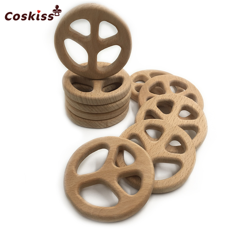 Handmade Wooden Safe Baby Teether Peace Sign Pendent Organic Natural Beech Wooden Animal Toy DIY Jewelry Making Accories