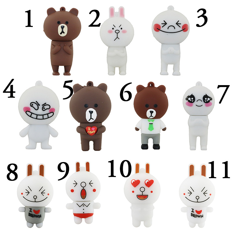 Pen font b Drive b font Cartoon Line Expression Nicole Rabbit And Brown Bear 4G 8Gb