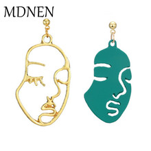 964bb83ec Fashion Picasso Face Abstract Art Geometric Metal Hollow Double Human Face  Earings for Women Figure Dangle
