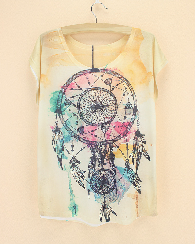 Classical Summer styles 3D dream catchers cat printing t shirts