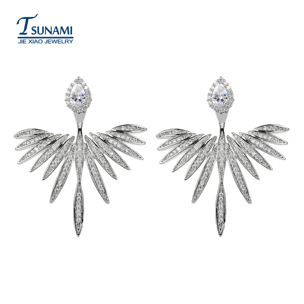 2018 new feather zircon earrings. A high quality female party with a high quality female party. ER-210