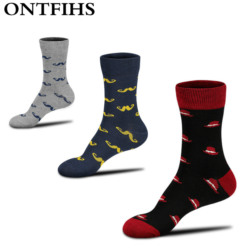 5Pairs /lot Men Socks Combed Cotton In Tube Socks Happy Socks Color Casual Novelty Dress Business H-13