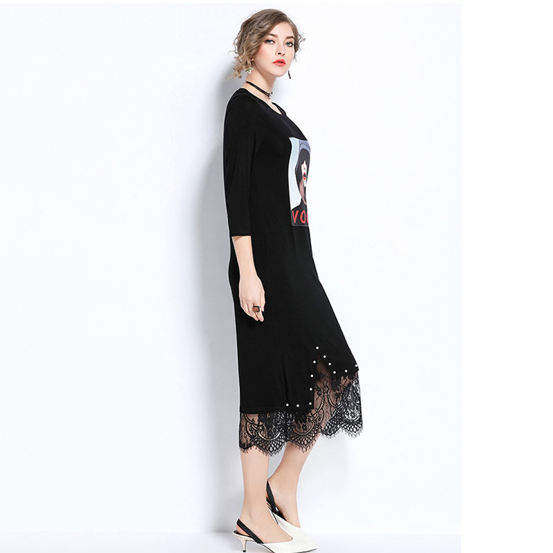 Spring Women Dress 2018 Summer New Large Size Female Dress Fashion Seven Point Sleeve Round neck Straight Ladies Printed Dresses in Dresses from Women 39 s Clothing