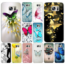 44DF Butterfly Stand On The Cat Nose Hard Cover Case for Samsung Galaxy S4 S5 Mini S6 S6 S8 S9 edge plus S7 Edge(China)