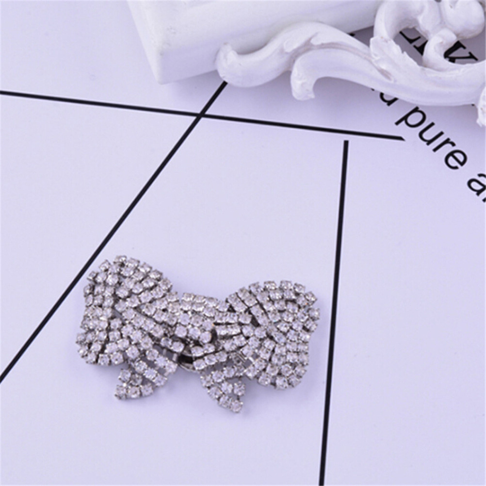 2 Styles Fashion Rhinestone Shoes Buckle Elegant Silver Shoe Square Bowknot Shape Clips Shoe Decorations For Women Girl ladylike elegant style rhinestone embellished bowknot shape women s hairpin