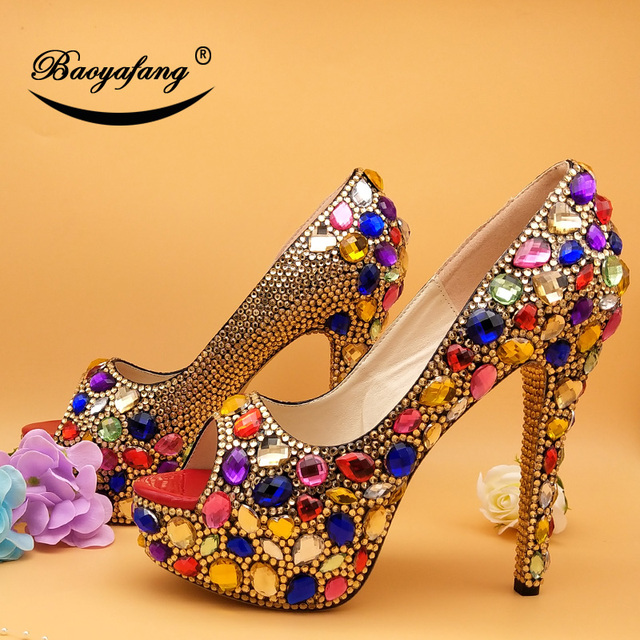Multicolored Women Wedding Shoes With Matched Purse | High Heel Wedding Shoes