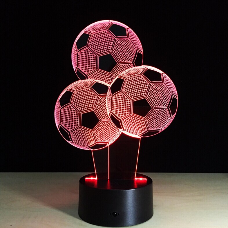 Creative football  3D Bedroom Lights LED Night Lamp USB Table Desk Lamps Night Lights For Child Christmas Gift free shipping big promotion magic colorful led table lamp creative 7 colors bed light bedroom sleeping led night lights for decoration gift