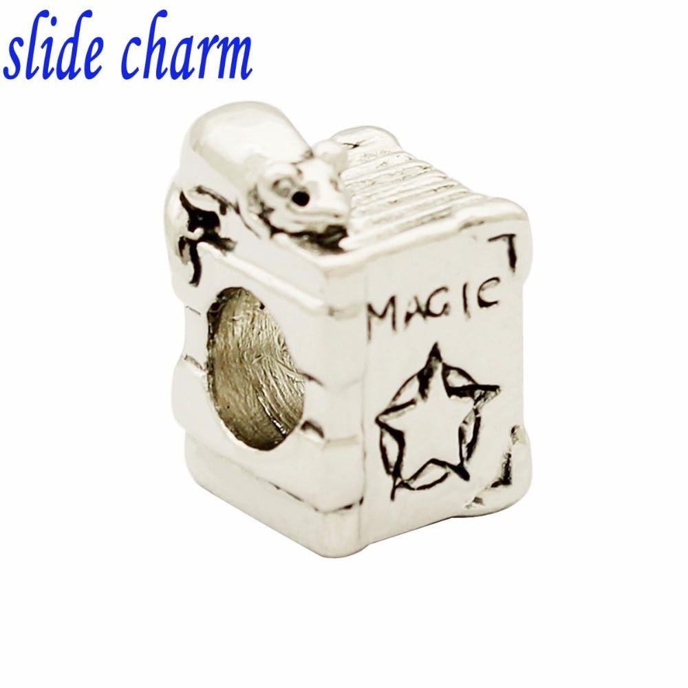 slide charm Free shipping Childrens birthday gift magic books charm beads fit Pandora charm bracelets