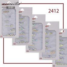60 ピース/パック AB 色 3D 光沢のある DIY 宝石新チャーミングミックススタイルクリスタル売春ガラスネイルアートラインストーンジュエリー装飾セットツール