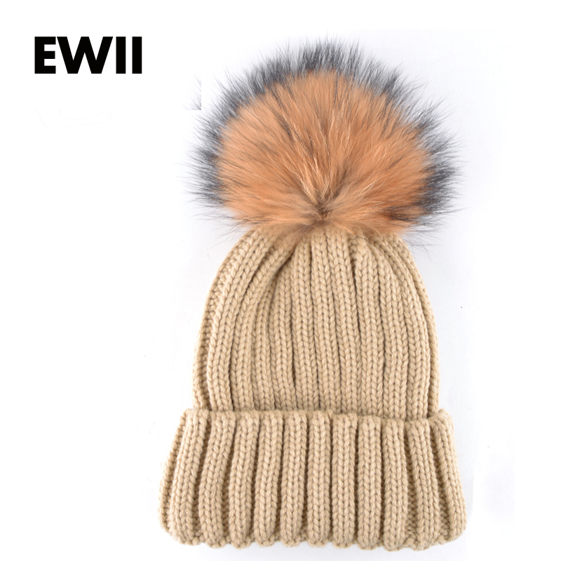 Nové módní pletené mýval kožešinové ples ženy čepice dívky podzimní příležitostné čepice dámské čepice unisex teplé zimní čepice