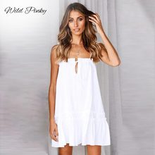 WildPinky 2019 Boho Women Summer Straps Beach Cotton Dress Sexy Strapless Lace Up Ruffles Mini Dresses Casual Vestidos