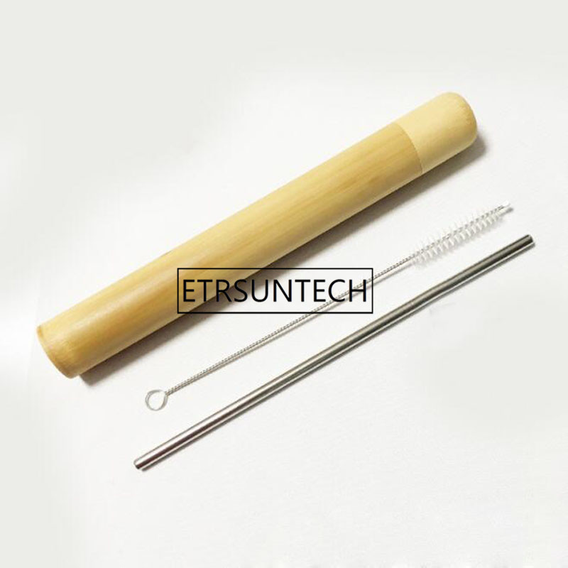 50sets Drinking Straw Stainless Steel Straw With Cleaner Brush Kitchen Bar Accessories Portable Travel Bamboo Tube