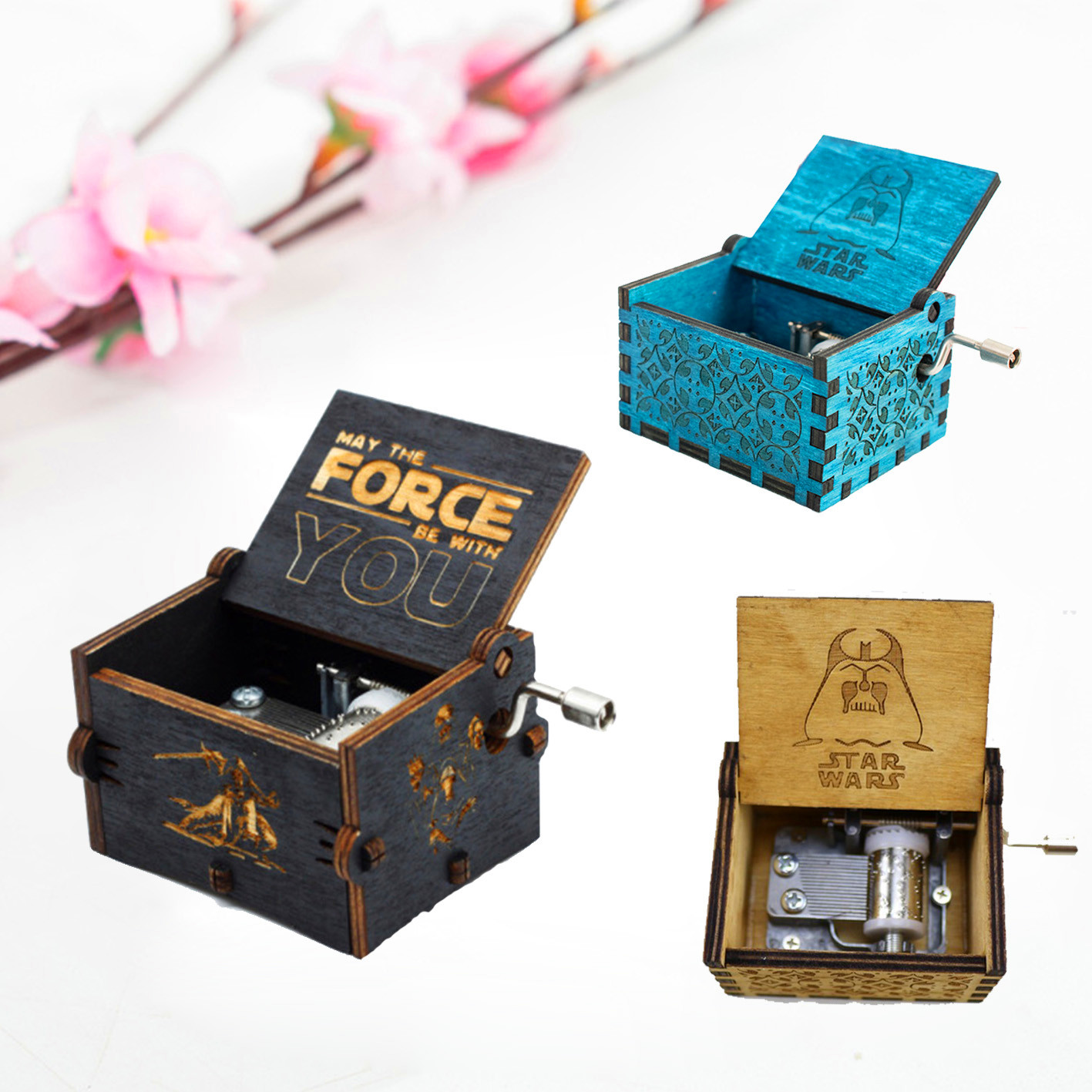NEW Star War Musical Action Figure Toy Antique Carved Wooden Hand Crank Music Box Creative Birthday Christmas Gift Toys antique