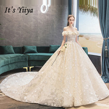 It's YiiYa Boat Neck Tiered Full Train wedding dresses