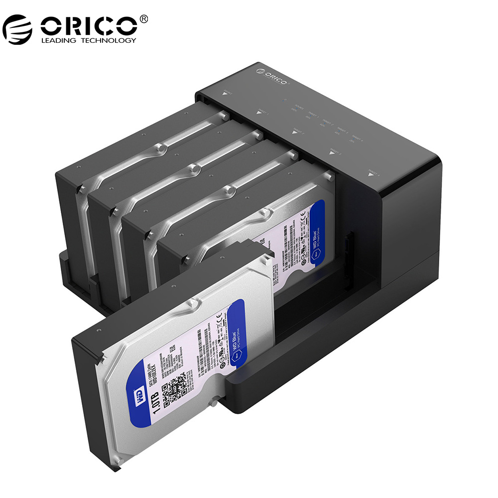 ORICO 2.5/3.5 Inch SATA Hard Drive Enclosure SSD Case HDD Docking Station With Clone Function Max 50TB With 12V Power Adapter
