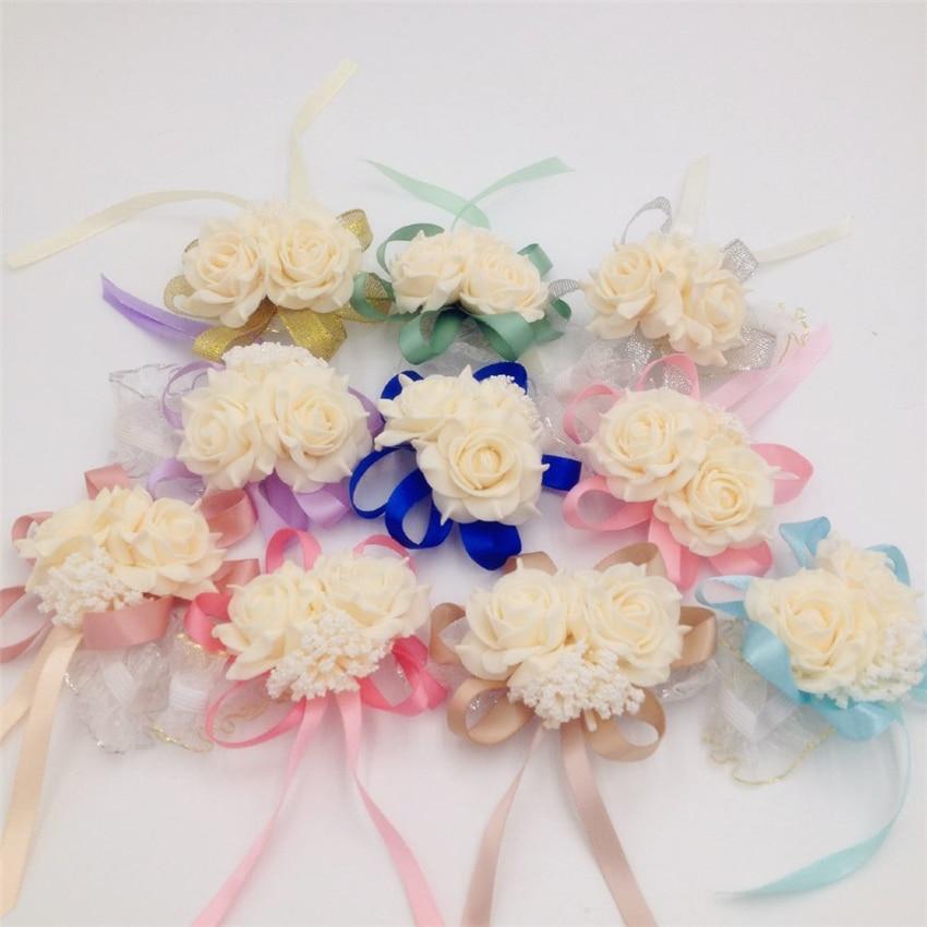 15 Adet / grup Toptan Moda Yapay Gelinler Nedime Düğün Buket El Çiçekler Bilek Corsages Çok Renkli Isteğe Bağlı