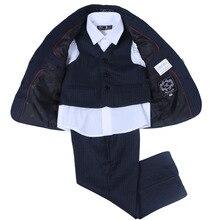 Nimble Navy blue Children Boys Clothes Gentleman Fashion Wedding Formal Spring Autumn Boy Suit 3piece set 788-4