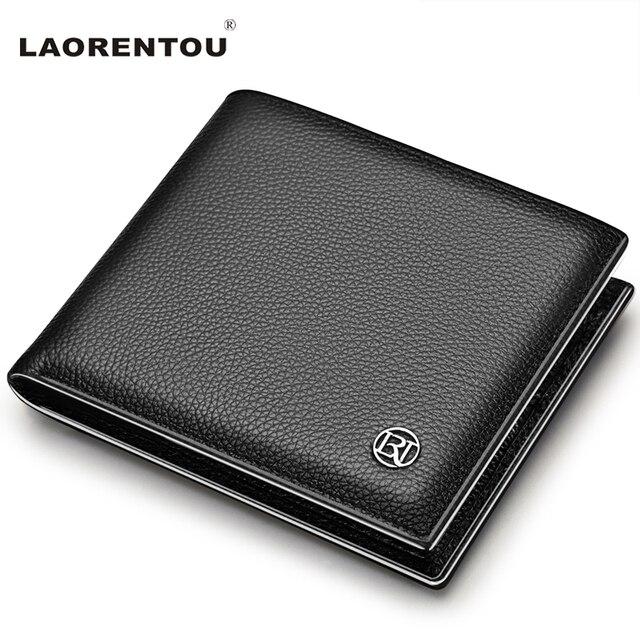 Laorentou 100% натуральная кожа бумажник мужчины короткие бумажник старинные корова кожа повседневная мужчины кошелек кошелек стандартные марки кошельки n52