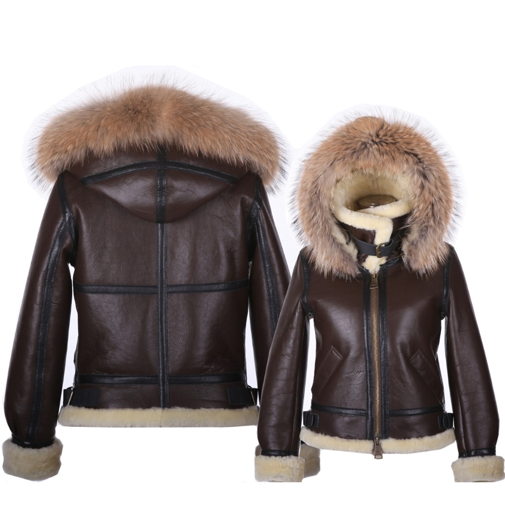 B3 shearling hat Bomber Fur military pilot World II Flying aviation air Leather jacket Environmental protection of leather woMen