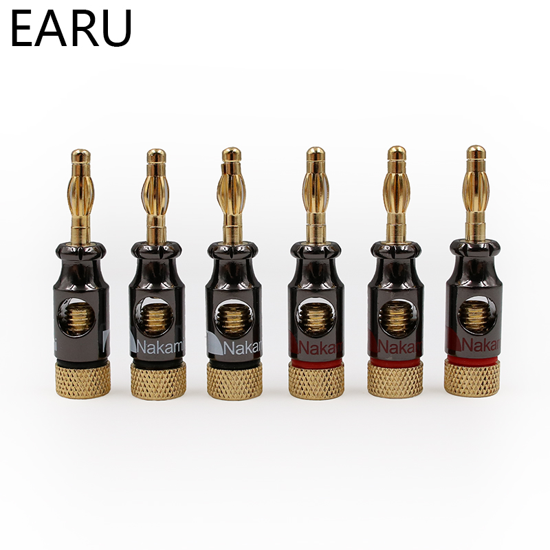 Image 3 - 12Pcs Nakamichi 4mm Banana Plug Spiral Type 24K Gold Screw Stereo Speaker Audio Copper Terminal Adapter Electronic Connectorconnectors electronicconnectors goldconnector 4mm -