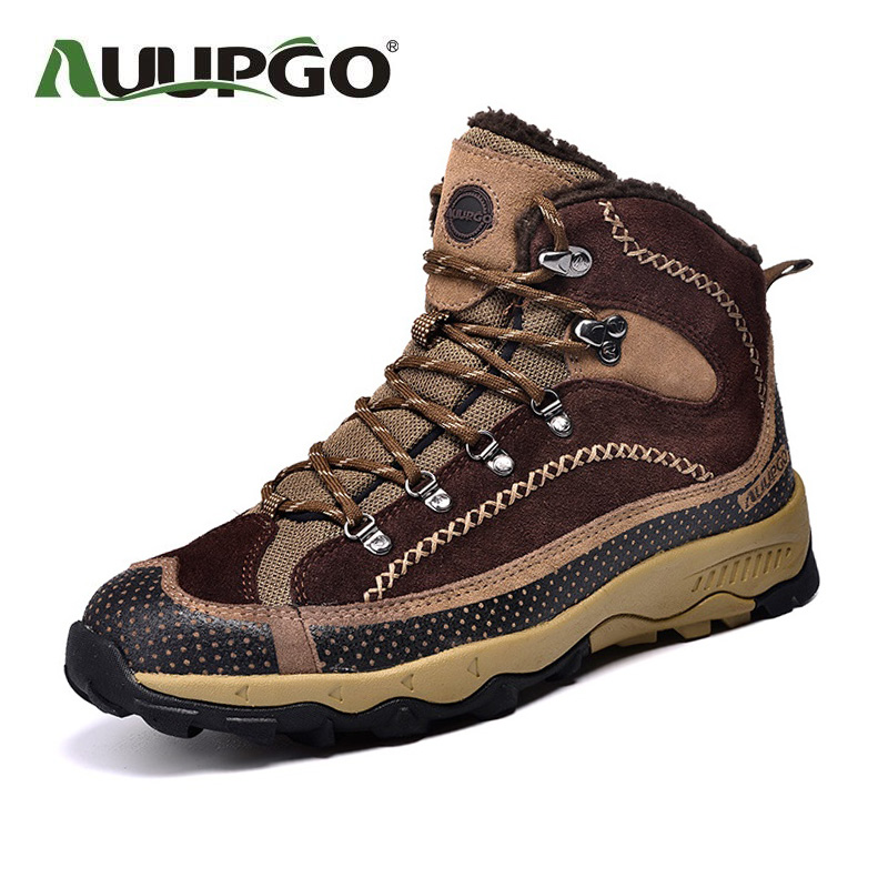 Men High-Top Hiking Shoes Women Warm Waterproof Outdoor Shoes High Quality Plus Velvet Hiking Boots B2598 yin qi shi man winter outdoor shoes hiking camping trip high top hiking boots cow leather durable female plush warm outdoor boot