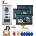 Video Intercom 7 Zoll Wifi Wireless Video Tür Telefon Türklingel Intercom System Android IOS APP Für 3 Einheiten Wohnung|Videosprechanlage|   -