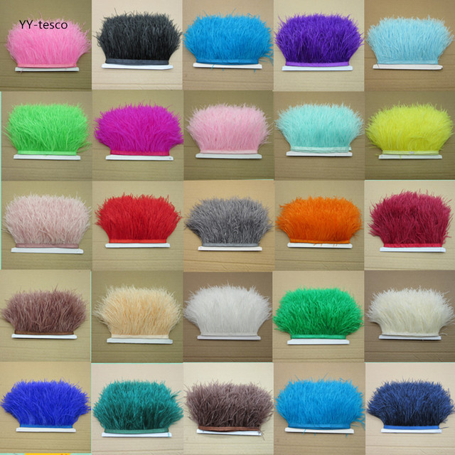 New! Wholesale high quality 10 meters ostrich feather ribbon, feather length 8-10cm / DIY clothing accessories
