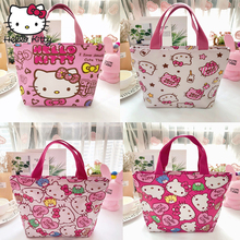 Hello Kitty New Style Woman Cartoon Bag Handmade Hand Bags Lovely Girls Shopping PU Portable Plush Backpack Travel