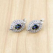 925 Sterling Silver Jewelry Mystic Rainbow Fire Cubic Zirconia Earrings White CZ Stud Earring For Women Free Gift Box