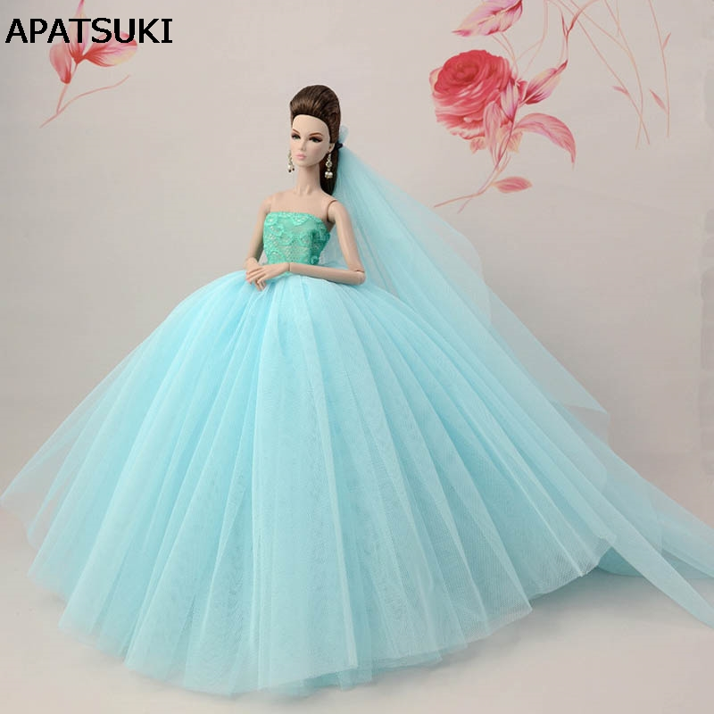 Light Blue Patchwork Doll Dress For Barbie Doll Long Tail Evening Gown Clothes Wedding Dress +Veil 1/6 Doll Accessories