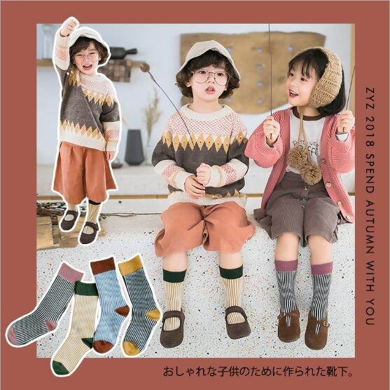 Combed cotton kids stockings spring autumn children vertical strip color matching Luokou stockings 2