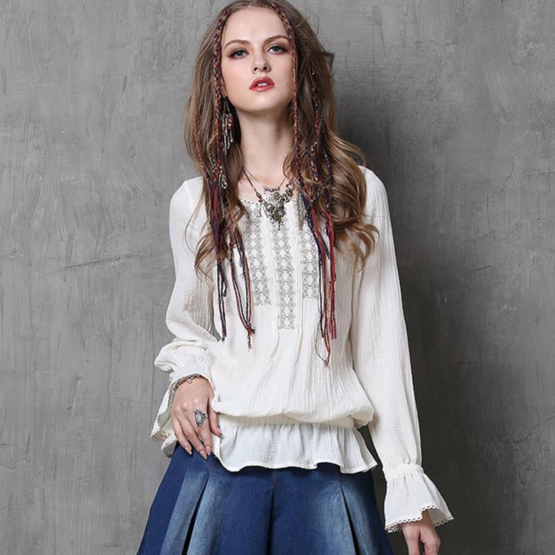 Bohemia Vintage Blusas Tops Casuales 2016 de Primavera O
