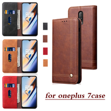 for Oneplus 7 Pro Case Retro Flip Leather Shell 1+7 Luxury Solid Color Card Slot Wallet Handmade Fundas Phone