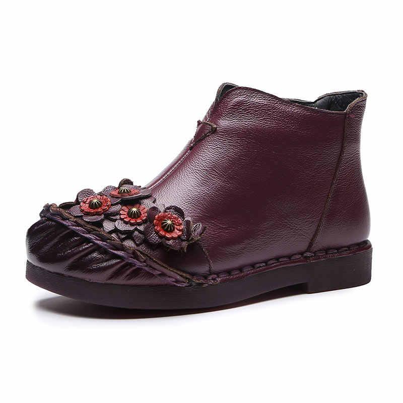 Xiuteng 2018 Yeni Geliş Vintage Çizmeler Hakiki Deri yarım çizmeler Kış Kadın sıcak ayakkabı Yumuşak Kaymaz Alt Tabanı Artı Boyutu