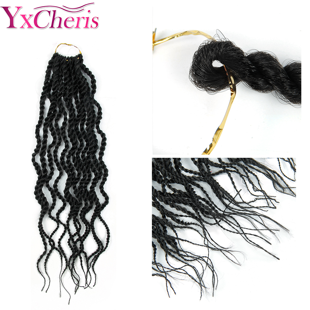 YxCheris Bulk Crochet Braids Hair Extensions 18 quot Synthetic Curly Senegalese Twist Crochet Braiding Hair Weave Black Omber in Senegalese Twist Braids from Hair Extensions amp Wigs