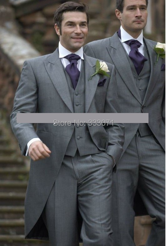 2014 Handsome Ascot Grey Groom Tuxedos Tailored men\'s BESPOKE ...