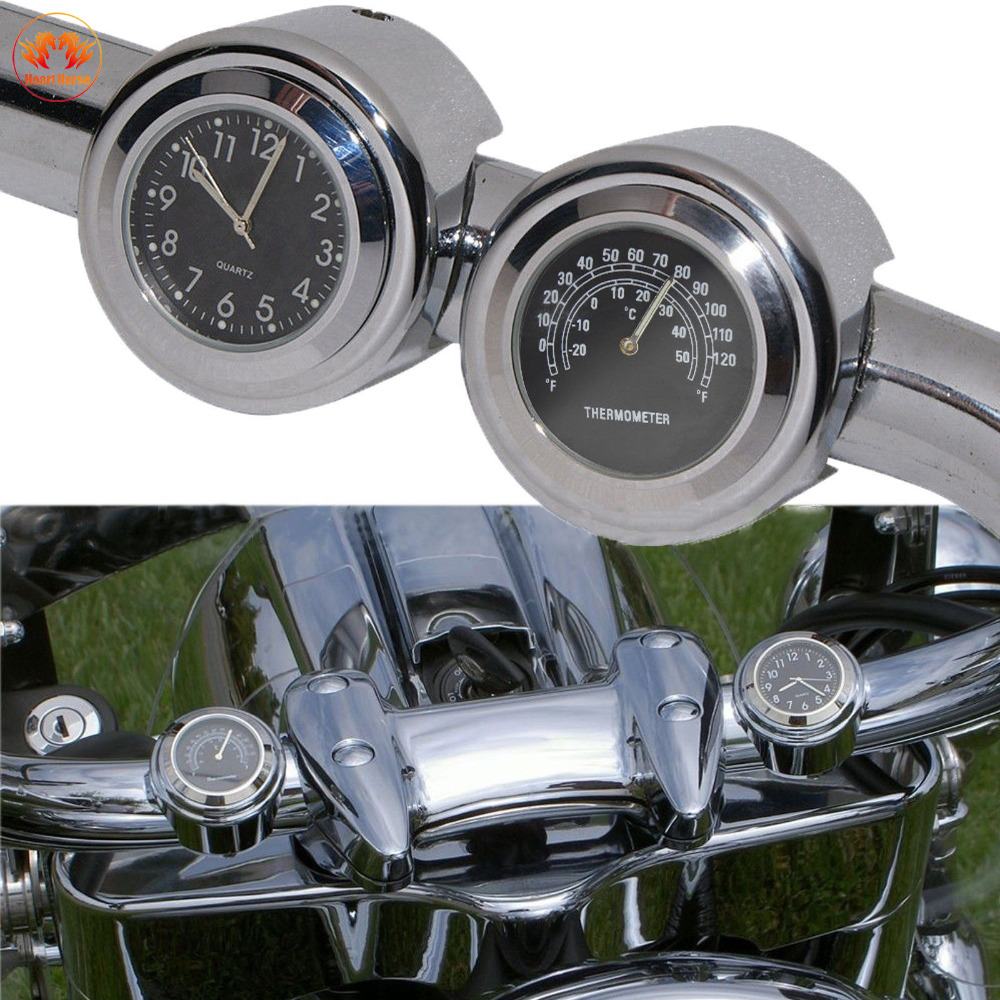 Black Motorcycle Handlebars Dial Clock Watch Temp Thermometer Universal 7/8