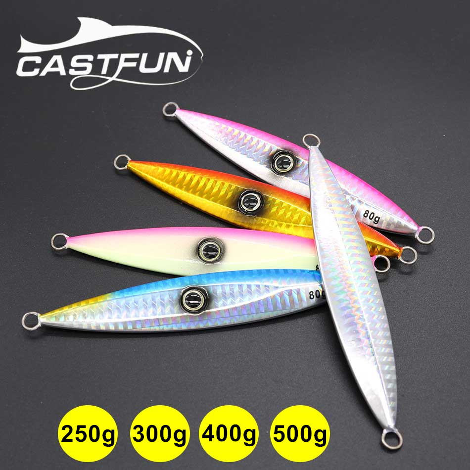 Castfun 250g 300g 400g 500g Slow Jig Spoon Lure 1pc Saltwater Metal Jigging Fishing Lure castfun slow jig spoon lure lead lure saltwater fishing lure metal jig 1pc 60g 80g 100g