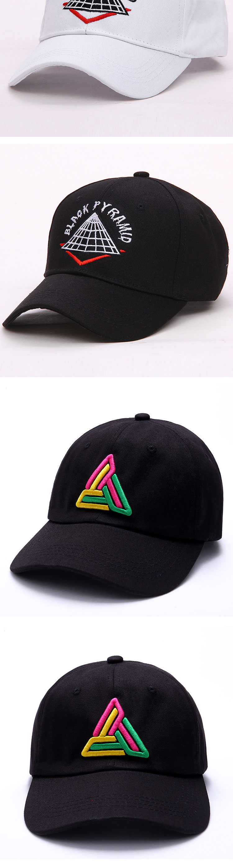 9ad0aa7735c LANHUIFD New Embroidery BLACK PYRAMID Cap Dad Hat Bone Feminino Hip ...