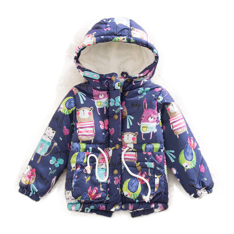 Baby Girls Winter Cotton-Padded Jacket Coat Children Fashion Cartoon Birds Mouse Graffiti Print Plus Thick Velvet 3 8 Years Old свитшот print bar flower birds