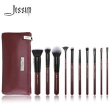 Jessup 브러쉬 10pcs 매화/블랙 메이크업 브러쉬 세트 뷰티 메이크업 브러쉬 컨실러 & 1 pc 화장품 가방 여성