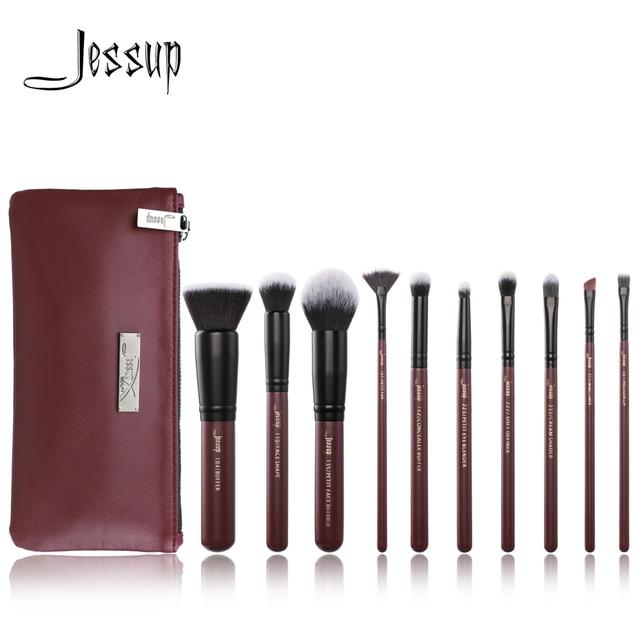 Jessup brushes 10pcs Plum/Black Makeup brushes set beauty Make up brush Concealer & 1PC Cosmetic bag women