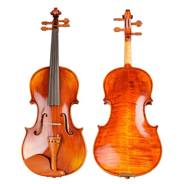 Violons Instruments à cordes professionnels Violon 4/4 rayures naturelles érable Violon maître artisanat Violino avec étui arc colophane