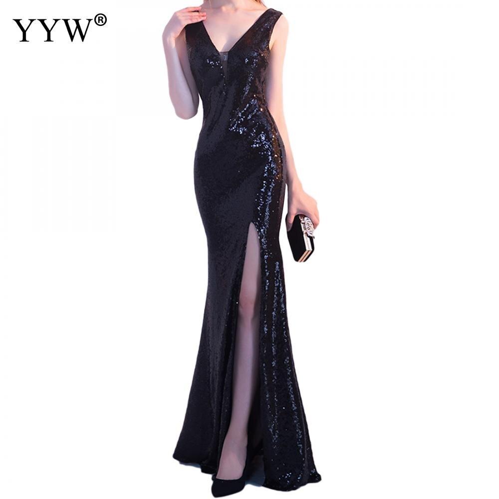 Luxury Floral Black Sequined Evening Dress V Neck Backless Women Elegant Long Party Dress Side Slit Tank Fashion Formal Dresses